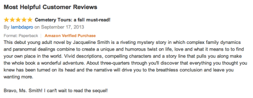 Cemetery Tours' First Review Is In!!!